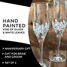 Hand Painted Champagne Flutes Silver and White Set of 2