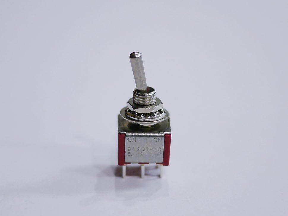 ペースト渦ガムミニスイッチ ON-ONタイプ 2回路2接点6ピン レッド 1個売り