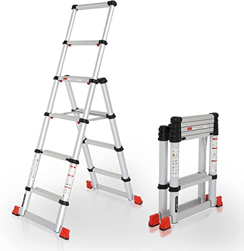 lowest LUISLADDERS Telescoping Ladder Extension Ladder A-Frame Aluminum One-Button 2021 Retraction Telescopic Ladder Multi-Purpose 5.5FT Collapsible Ladder for Household Daily or Hobbies 330 online sale Lb Capacity online sale