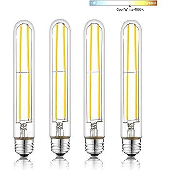 HXMLS T10 Dimmable Led Bulb Edison Light 6W,T30 Long Tubular Light Led Filament Bulb 4000k,60W Incandescent Equivalent,Clear Glass Cover E26 Medium Base,7.5Inch 3-Pack