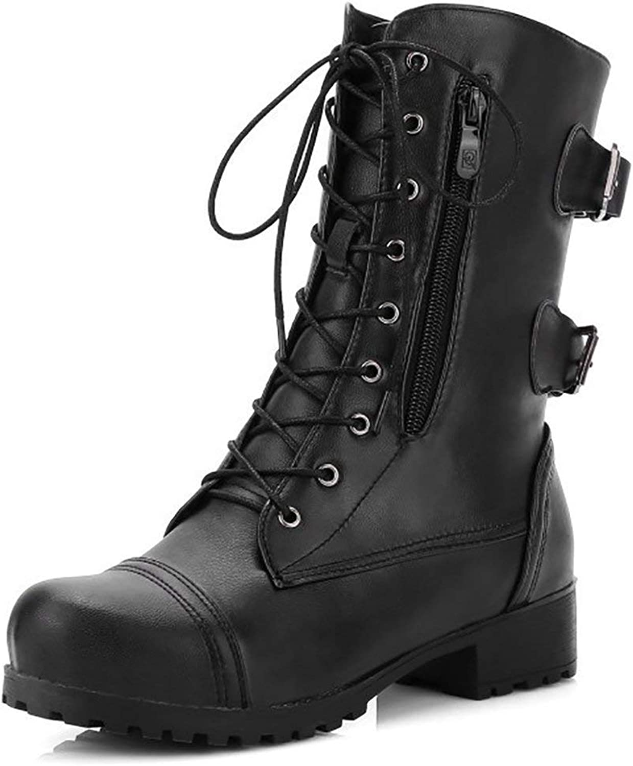 Women's Mid Calf Martin Boots Lace up Flats shoes Zipper Leather Buckle Booties Pockets