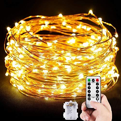 Cadena de Luces 10M 100 LED Guirnalda de Luces Cálida Impermeable con Control Remoto Alambre de Cobre de 8 Modos de Luz para Lluminación DIY Navidad Decoración Fiesta Jardín Boda (Amarillo cálido)