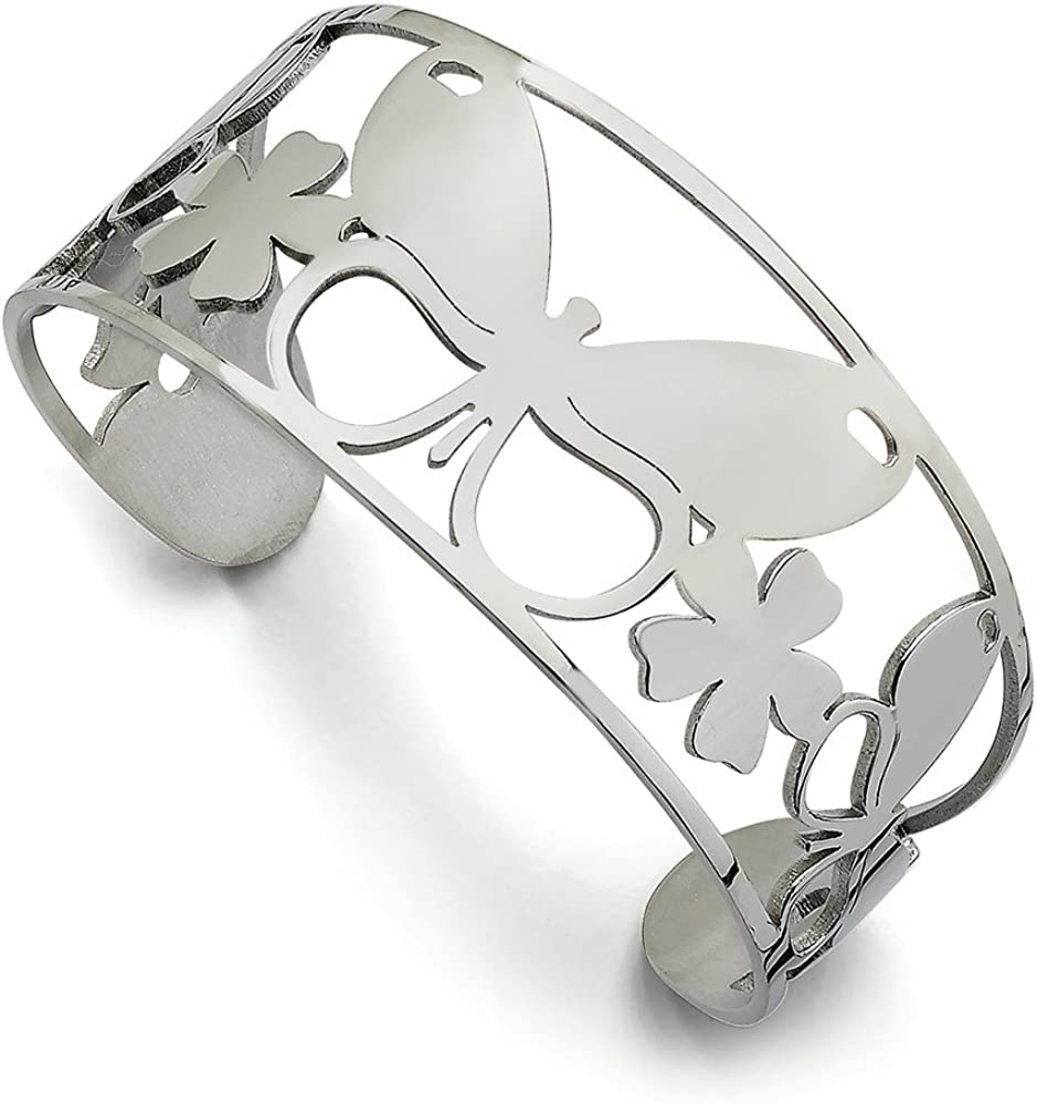 Stainless Steel Polished Butterfly Cuff Bangle (31mm)