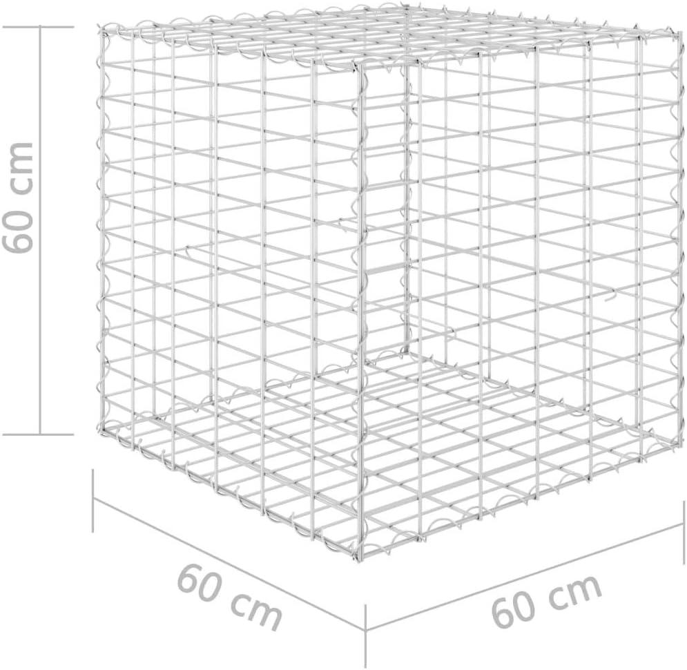 Festnight Lit sur/élev/é Cube /à Gabion Fil dacier 30x30x30 cm