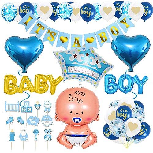 AiYoYo 40 Teile Babyparty Deko Junge Set Baby Shower für Jungs Baby Shower Dekoration Girlande - It's A Boy Girlande, Luftballons, , Fotobox,Geschenk - Blau