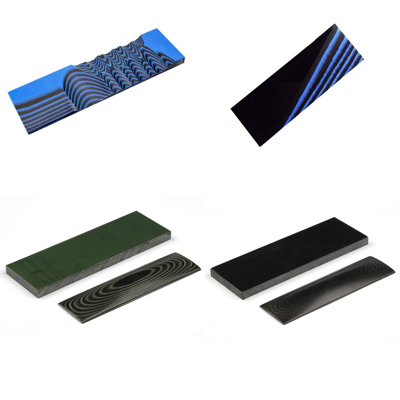 MYIW G10 Manejar Material, Knifemakers Supply Custom DIY Tool de micarta Knife Handle Material losa,Pack de 2 Piezas (Azul & Negro): Amazon.es: Deportes y aire libre