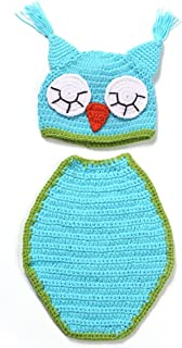 Newborn Sky Blue Owl Handmade Crochet Knitted Photo Prop Outfits Fashion Costume 2016