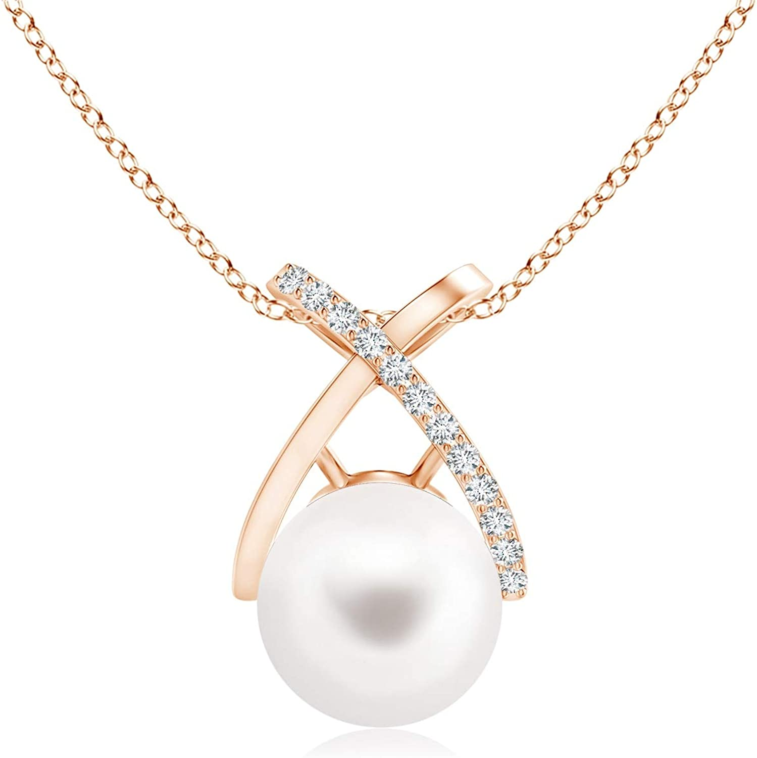 Freshwater Superior Cultured It is very popular Pearl Criss Cross Diamonds 8mm with Pendant