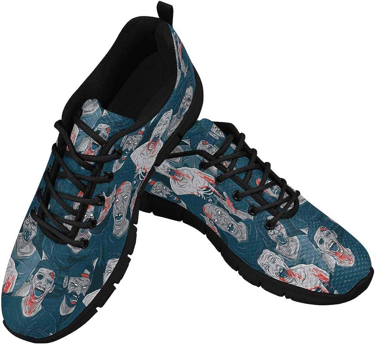 INTERESTPRINT Zombies Pattern Women Walking Shoes Comfortable Lightweight Work Casual Travel Sneakers