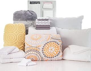 OCM 20 Piece Comfort Pak Mosaic Gray and Xavier Gray Twin XL College Dorm Bedding and Bath Set