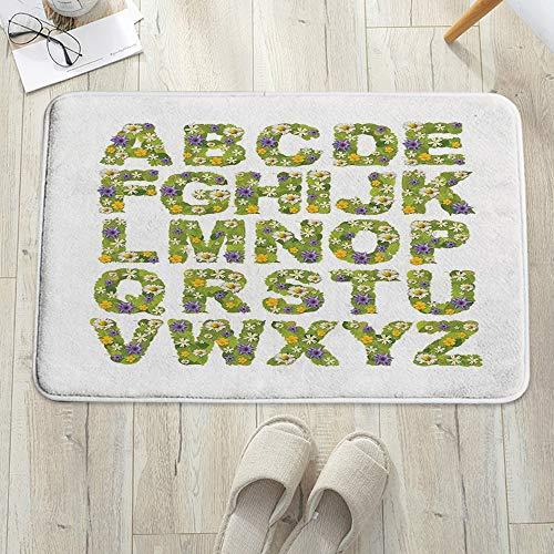 Alfombrilla de baño antideslizante, para baño o ducha,Letras, hojas verdes y flores Alfabeto inspirado en la madre n, alfombra de suelo absorbente, para sala de estar, sofá, cojín, caucho, 60 x 100 cm