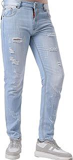 Lente en zomer herenjeans met halfhoge taille, jeugd Koreaanse slim-fit micro-elastische jeans met rechte pijpen en gesche...