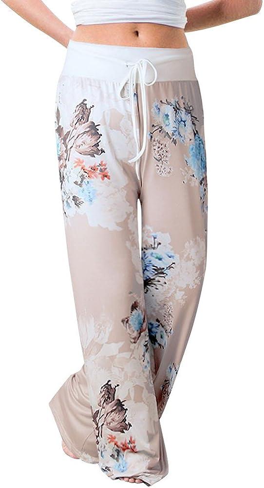 KIMOH Women's Comfty Pajama Pants Drawstring Waist Wide Leg Casual Pants Floral Printed Lounge Pants