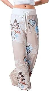 Limsea Women's Comfy Pajama Pants Floral Print Casual Drawstring Palazzo Wide Leg Lounge Pants High Waist Trousers