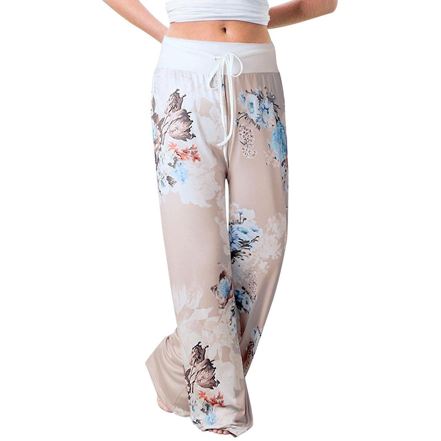 Todaies Womens Wide Leg Lounge Pants,Comfy Stretch Floral Print Drawstring Palazzo Pants (Khaki 1, 2XL)