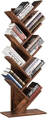 SUPERJARE 9-Shelf Tree Bookshelf, Floor Standing Tree Bookcase in Living Room/ Home/ Office, Bookshelves Storage Rack for CDs