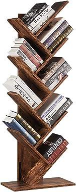 SUPERJARE 9-Shelf Tree Bookshelf, Floor Standing Tree Bookcase in Living Room/Home/Office, Bookshelves Storage Rack for CDs/M