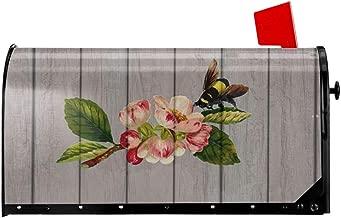 Mefond Magnetic Mailbox Cover Honey Bee Farms Post Letter Box Wraps Garden Yard Home Decor for Outside Oversized 25.5