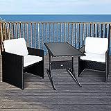 Deuba Ensemble Table et chaises en polyrotin 7 pièces Set Patio Coussins 7cm Extérieur