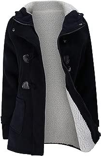 SZIVYSHI Thick Warm Full Fleece Lined Hooded Hoodie Cotton Duffle Coat Jacket Top Pocket Buffalo Horn Buttons Zip Closure
