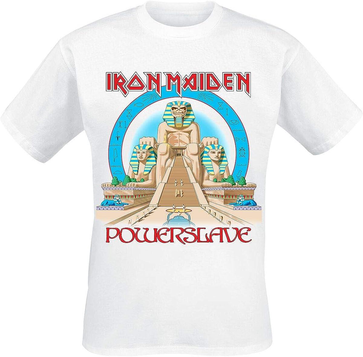 Iron Maiden Powerslave World Slavery Tour 1984-1985 Hombre Camiseta Blanco, Regular