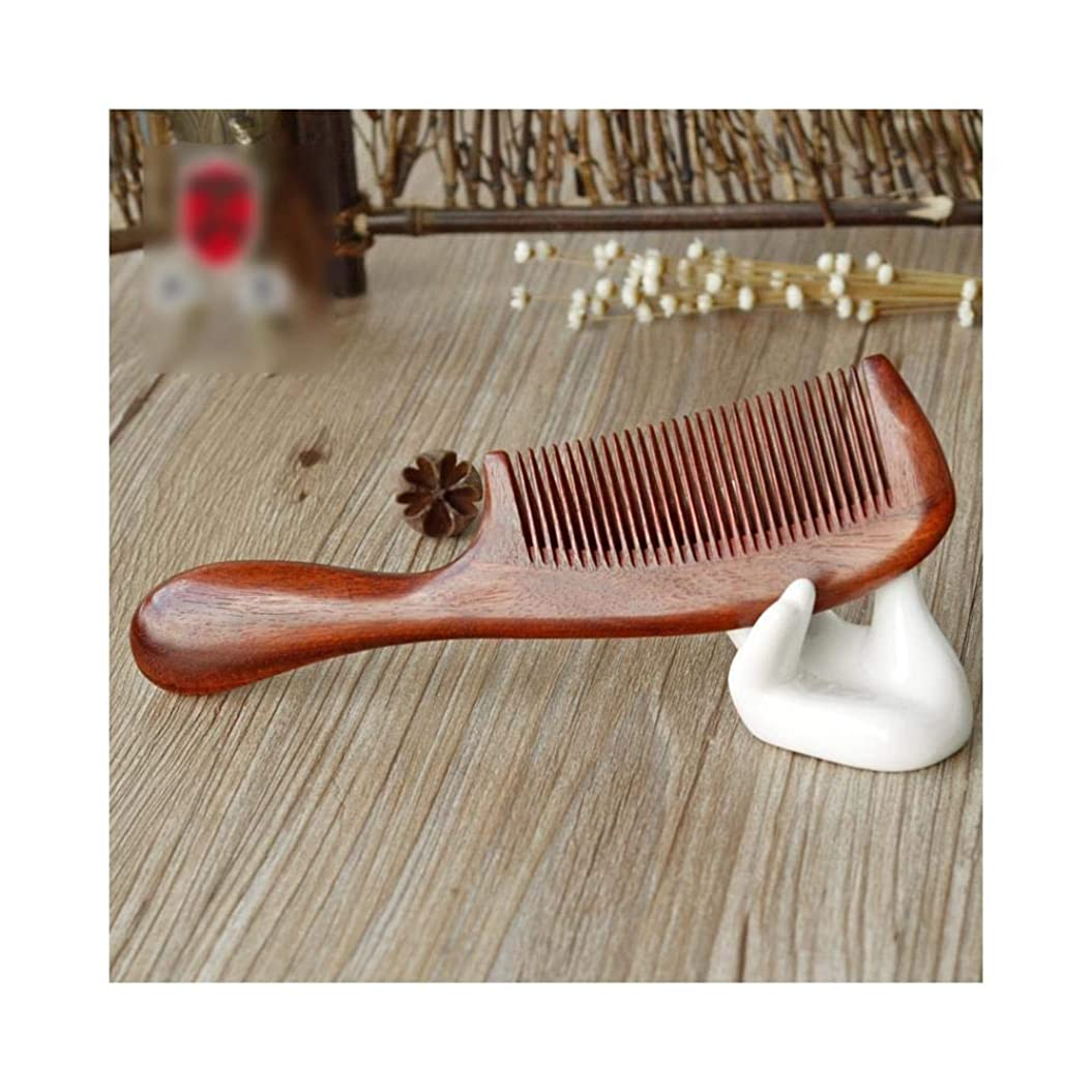 七時半フォージマルコポーロKpekey 天然血液サンダルウッドの櫛彫りの手作りの長いハンドルのヘアブラシ (色 : Photo color)