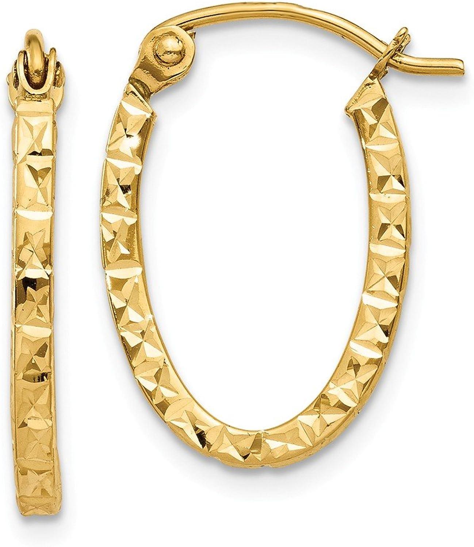 Beautiful Yellow gold 14K Yellowgold 14K Diamond Cut Oval Hollow Hoop Earrings