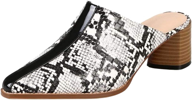 Slenderer Women Fashion Summer shoes Block Low Heels Mules Sandals Slip On