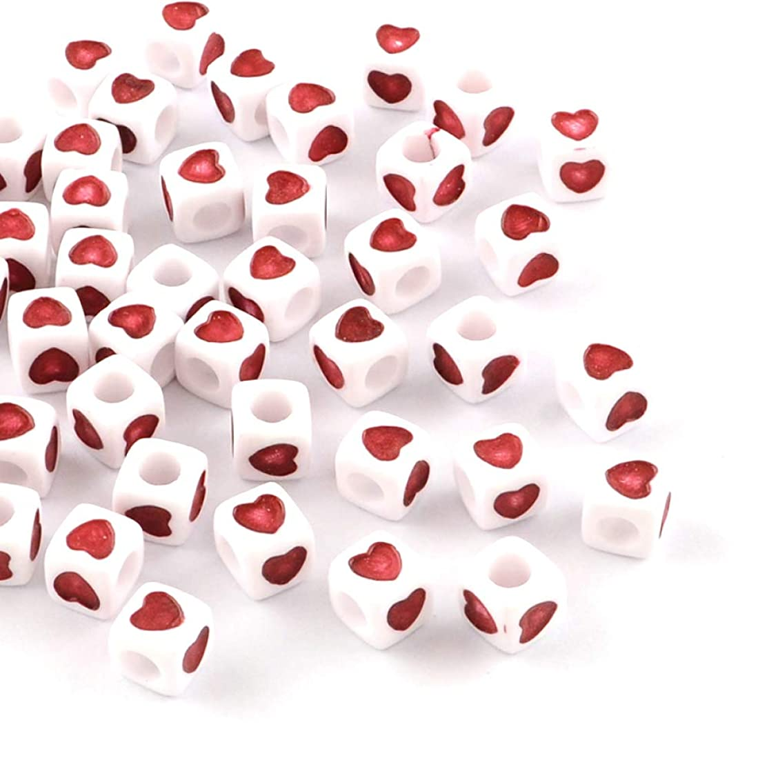 Beadthoven 100-Piece 7x7x7mm Opaque Acrylic Heart Beads European Large Hole Cube Beads with Red Heart for Jewelry Making Handmade Accessories Kid's Handcrafts Finding Supplies dvmtdeeu8