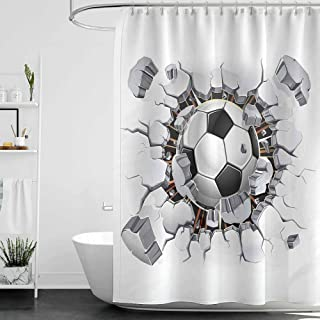 Shower Curtains Ocean Theme Sports Decor,Soccer Ball and Old Plaster Wall Damage Destruction Punching Illustration W48 x L72,Shower Curtain for Men