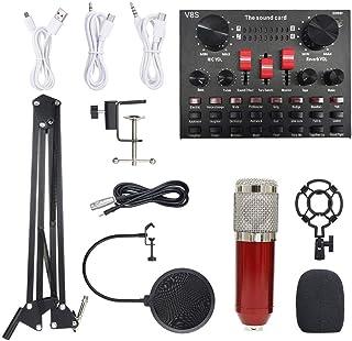 مجموعة ميكروفون بي إم 800 متعدد الوظائف لمعدات تسجيل الصوت (الأحمر والفضي)