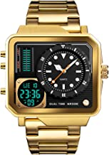 Men`s Digital Sports Watch, LED Square Large Face Analog Quartz Wrist Watch with Multi-Time Zone Waterproof Stopwatch