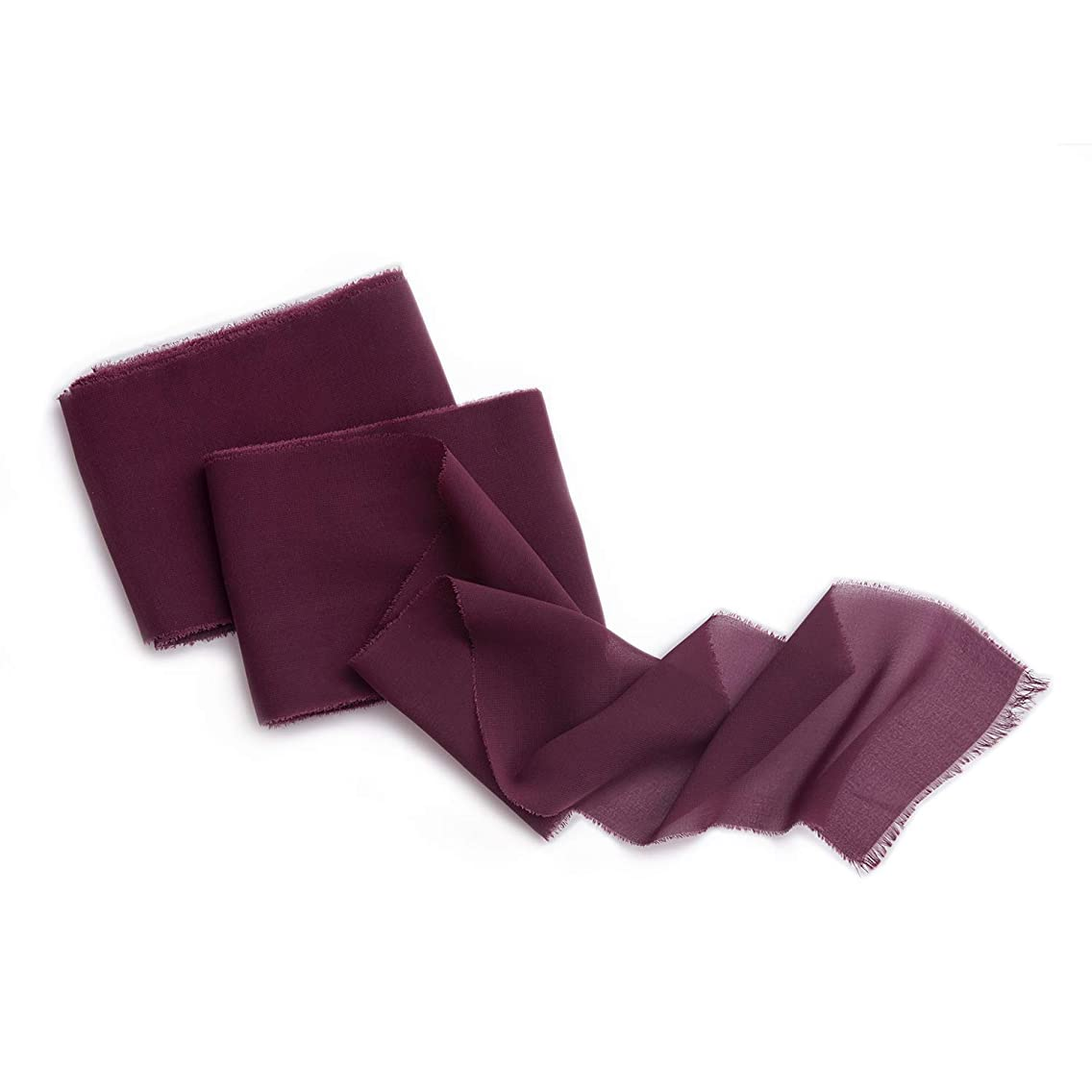 Ling's moment Handmade Burgundy Chiffon Silk Ribbon 4-3/4
