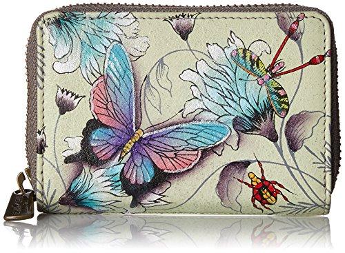 Anuschka Women's Genuine Leather Credit & Business Card Holder - Hand Painted Original Artwork - Wondrous Wings -  1110 WWG