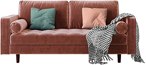 3 Seater Velvet Fabric Corner Sofa Lounge Suite Couch w/Chaise Solid Wood Frame - Blush