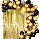 JOYYPOP Black Gold Balloons with Gold Tinsel Curtain Black Gold Balloon Garland for Wedding Birthday Party Supplies Decorations