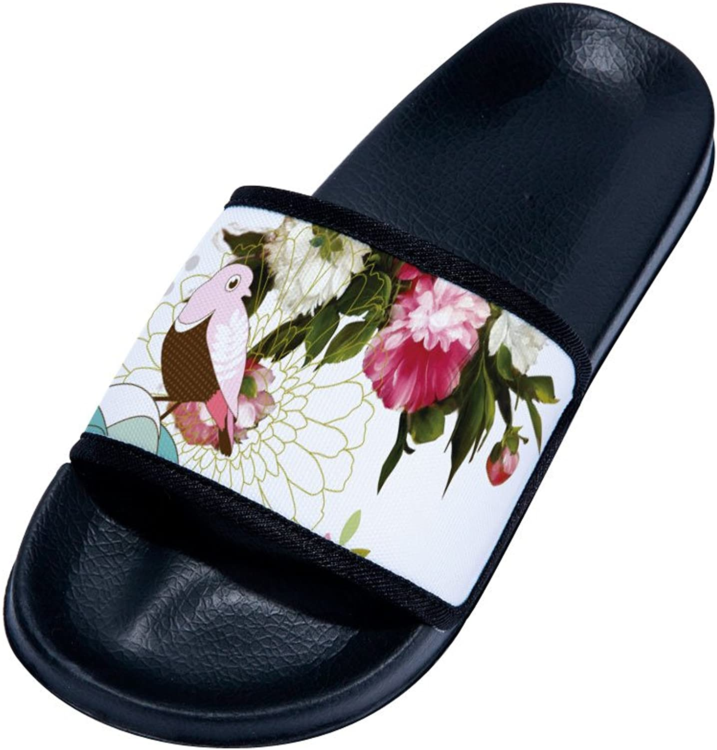 Cute Bird and Flowers Slippers Quick-Drying Non-Slip Slippers for Womens