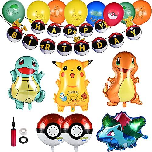 Décorations de Fête d'anniversaire, Thème Dessin Animé Fête d'anniversaire pour Enfants, Ballons en Latex, bannière Happy Birthday Ballons,Décorations de Fête pour Anniversaire pour Enfants
