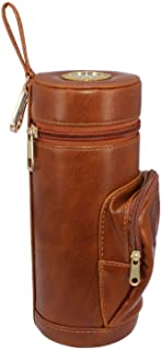 AMANCY Beautiful 3- Fingers Brown Leather Travel Cigar Case Humidor with Cedar Wood Lining