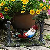 JOMYO Harz Gartenfiguren, 1pc Solarlampen FüR AußEn Garten, Lichterkette Aussen, Estatuas De Resina Enano, Adornos Divertidos, Hamaca Enana, Decoración De Gnomo De Escritorio Hecho A Mano, Patio De La