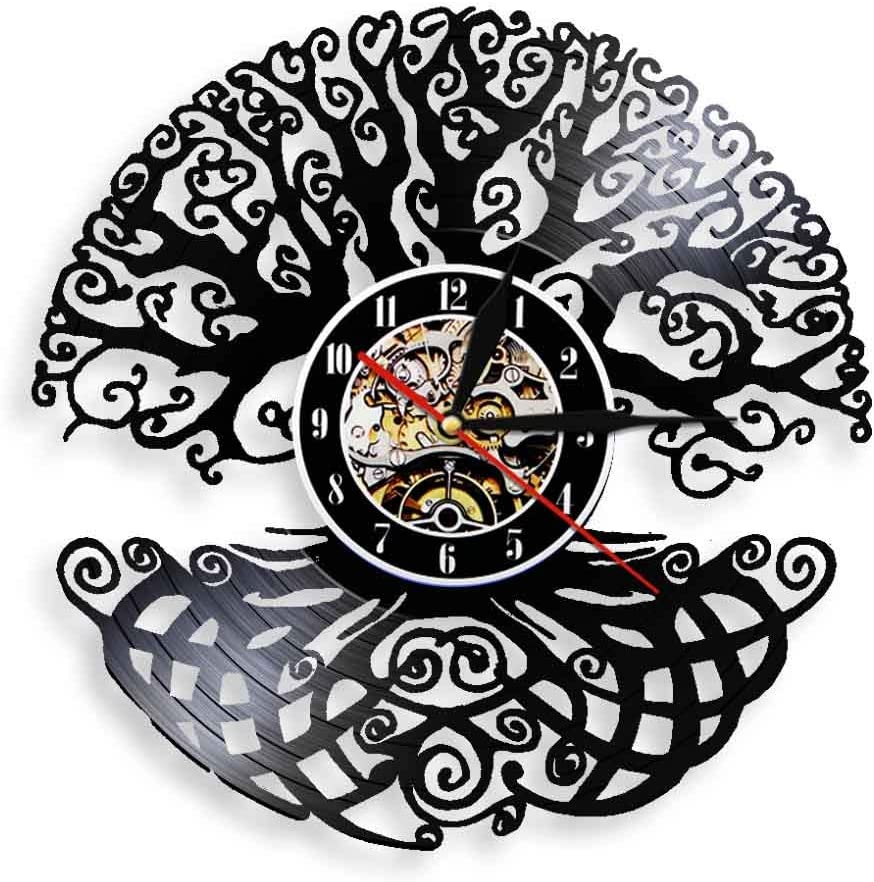 30cm Max 48% OFF Tree of Life Wall Clock Vintage Home V Art Decor Magic Year-end annual account