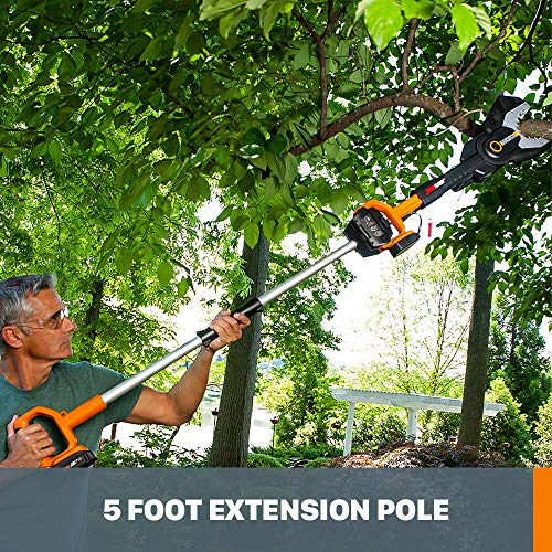 Worx WG321 20V Power Share Cordless 6-inch JawSaw Chainsaw with 5-ft Extension Pole