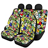 GePrint Kawaii Parrot Car Seat Covers Front and Rear Bench Protector Full Set Easy to Install Universal Fit for Auto Truck Van SUV(2 Front+2 Rear)