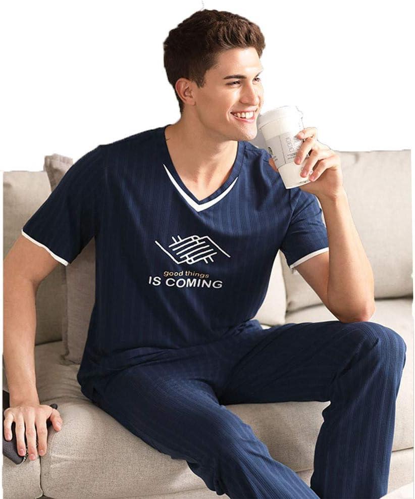 NA Men's Pajamas Set Mens Pyjamas Modal Set Short Sleeve Top & Long Bottoms Pants Set Sleepwear Summer Soft Nightwear Lounge Wear,Blue,L