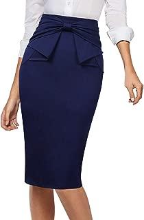 Womens Pleated Bow High Waist Slim Work Office Business Pencil Skirt