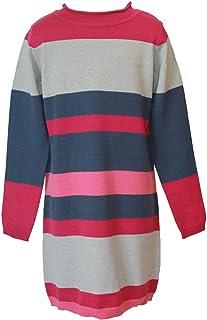 blue seven - Vestido de Punto para niña (Manga Larga), diseño de Rayas, Color Rosa y Gris