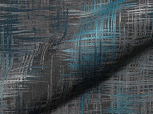 Raumausstatter.de Möbelstoff Varese 331 Muster Abstrakt grau blau als robuster Bezugsstoff, Polsterstoff zum Nähen und Beziehen, Fleckschutz