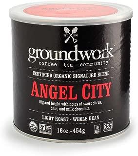 Groundwork Organic Whole Bean Light Roast Coffee, Angel City, 16 Ounce Can