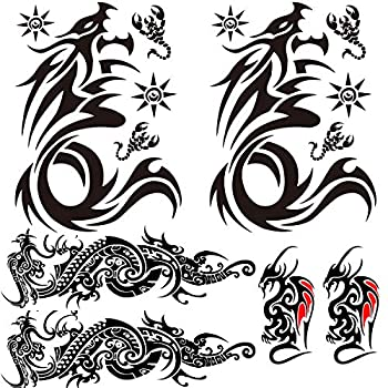 Tribal Dargon Totem Temporary Tattoos Totem Full Sleeve Tattoo Sticker Big Fake Dragon Tattoo Small Animal Totem Tattoos for Men Women Body Art Makeup 6-Sheet