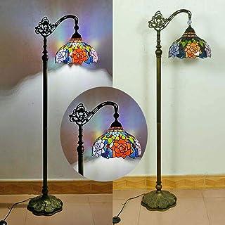 vintage Salon Lampadaire Sur Pied avec interrupteur Rétro Tiffany Lampe Sur Pied chambre Ø30CM Ombre ajustable Abat-jour e...
